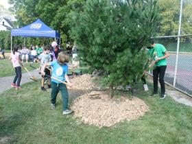 Students Distribute Mulch