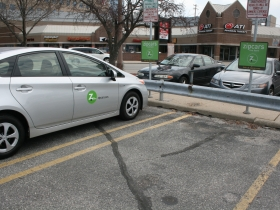ZipCar parked on Milwaukee's East Side.