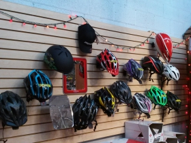 Bicycle helmets.