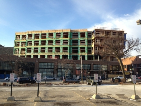 The construction of Prospect Mall Apartments is nearing completion.