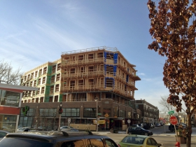 Construction of Prospect Mall Apartments continues.