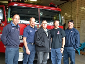 Brady Street Fire House Firemen- from the left- Pat McGarry, Scott Vilter, Frank Alioto, Rick Hawthorne, Mike Bongiorno