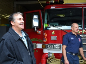 Frank Alioto and Mike Bongiorno at the Brady Street Fire House