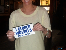 """I Closed Wolski's"" bumper sticker. Photo taken February 23rd, 2013 by Audrey Jean Posten."