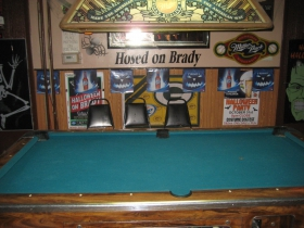 Pool table at Hosed On Brady.