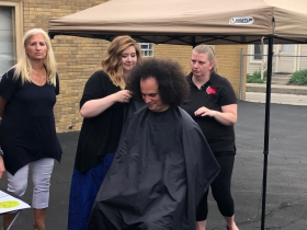 Kayleigh Kwasny Cuts Jonathan Brostoff's Hair
