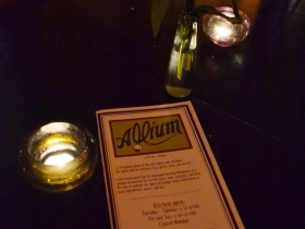 Menu at Allium. Photo taken December 18th, 2012 by Grace Fuhr.  All Rights Reserved.