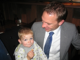 State Sen. Chris Larson and son Atticus.
