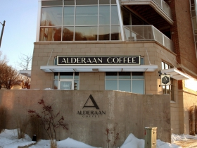 Alderaan Coffee Storefront Rendering.