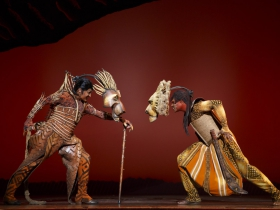 """Patrick R. Brown as Scar and L. Steven Taylor as """"Mufasa"""" face off in THE LION KING National Tour."""