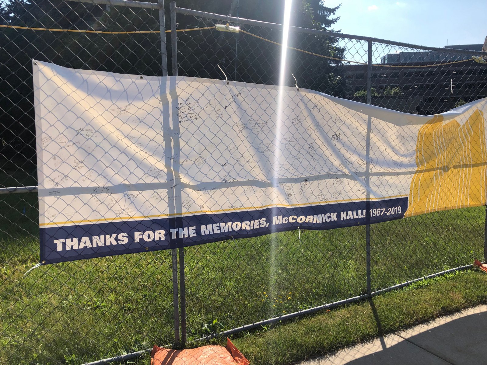 McCormick Hall Farewell Sign
