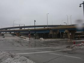 Freeway ramp exits at N. 10th St. and W. Tory Hill