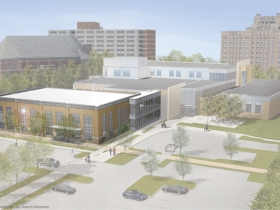 Marquette University School of Dentistry Expansion Rendering. Rendering courtesy of Marquette University.