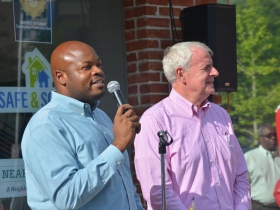 Executive Director of Near West Side Partners Keith Stanley and Mayor Tom Barrett