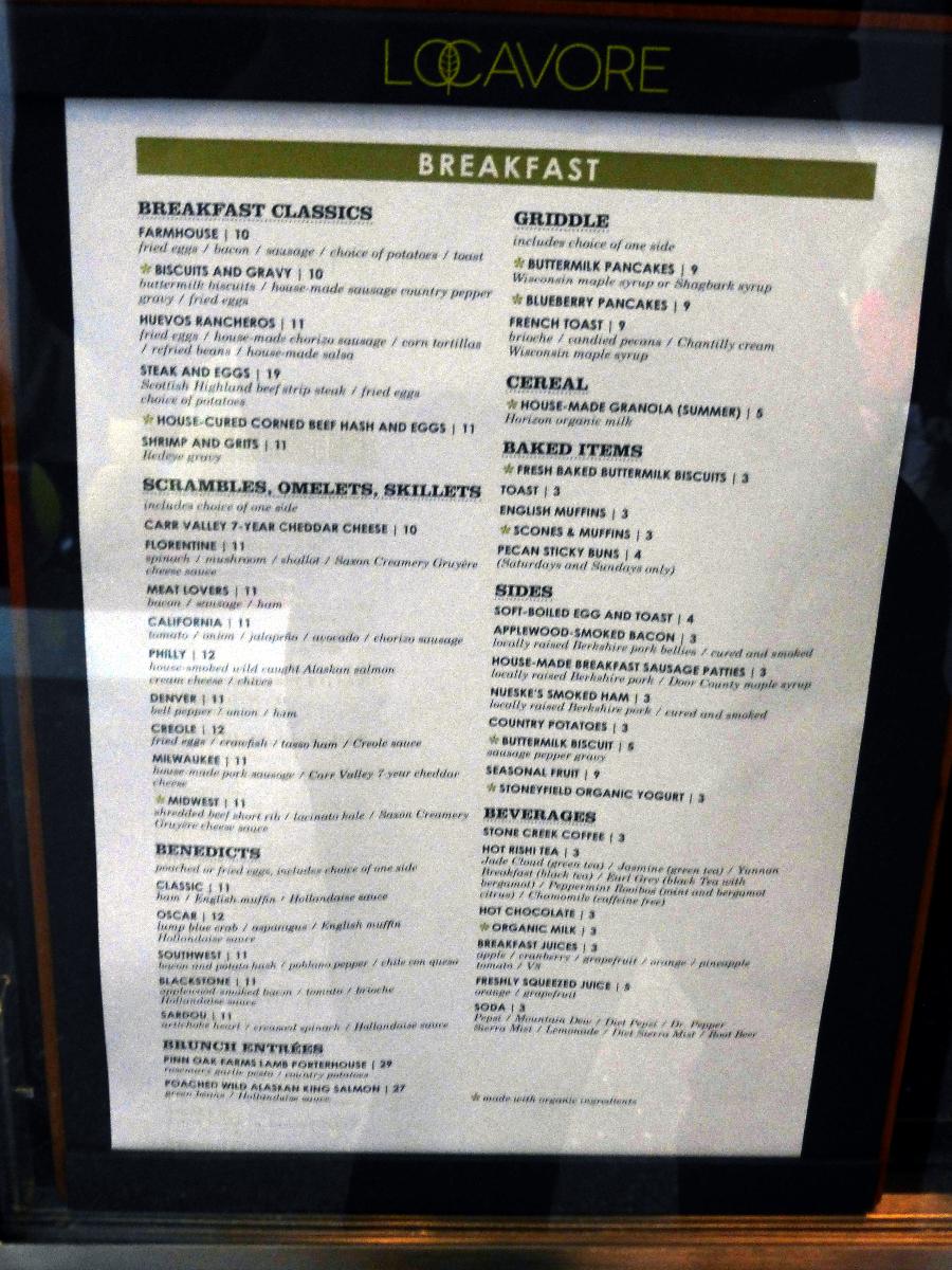 Locavore menu.