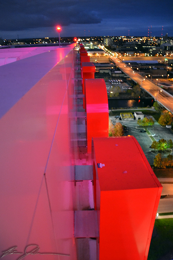 The giant red letters that spell out POTAWATOMI