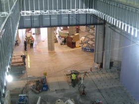 Work continues inside the new hotel.