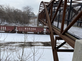 Potawatomi Bridge crossing the railroad yard