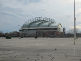 The parking lots of Miller Park now have plenty of neighbors. Photo by Jeramey Jannene.