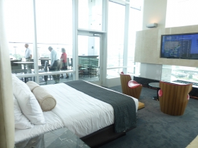 Bedroom with a view at new Potawatomi Hotel. Photo taken by Brett Kihlmire.