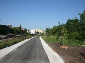 The Hank Aaron State Trail runs through Three Bridges Park.