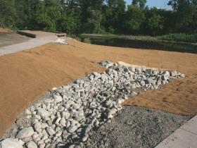 Water feature in Three Bridges Park.