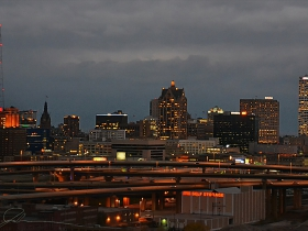 Downtown Milwaukee as seen from atop the Potawatomi Hotel.