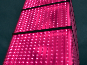 Lighting on top of the Potawatomi Hotel.