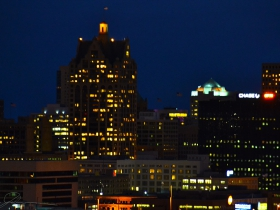 The lights of downtown.