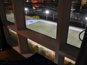 Valley Fields as seen from inside the Potawatomi Hotel.