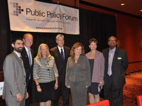 Joe Peterangelo, Public Policy Forum, David Misky, RACM, Julia Taylor, Greater Milwaukee Foundation, Mike Gousha, Marquette Law and Public Policy Fellow, Laura Bray, Menomonee Valley Partners, Kathryn Dunn, Greater Milwaukee, Foundation, Wyman Winston, WHEDA. Photo taken September 20th, 2014 by Susan Nusser