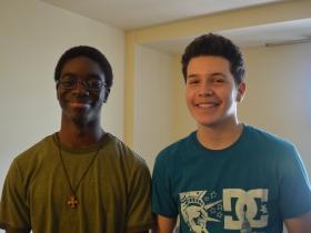High school students Nana Yorke and Jonathan Medina.