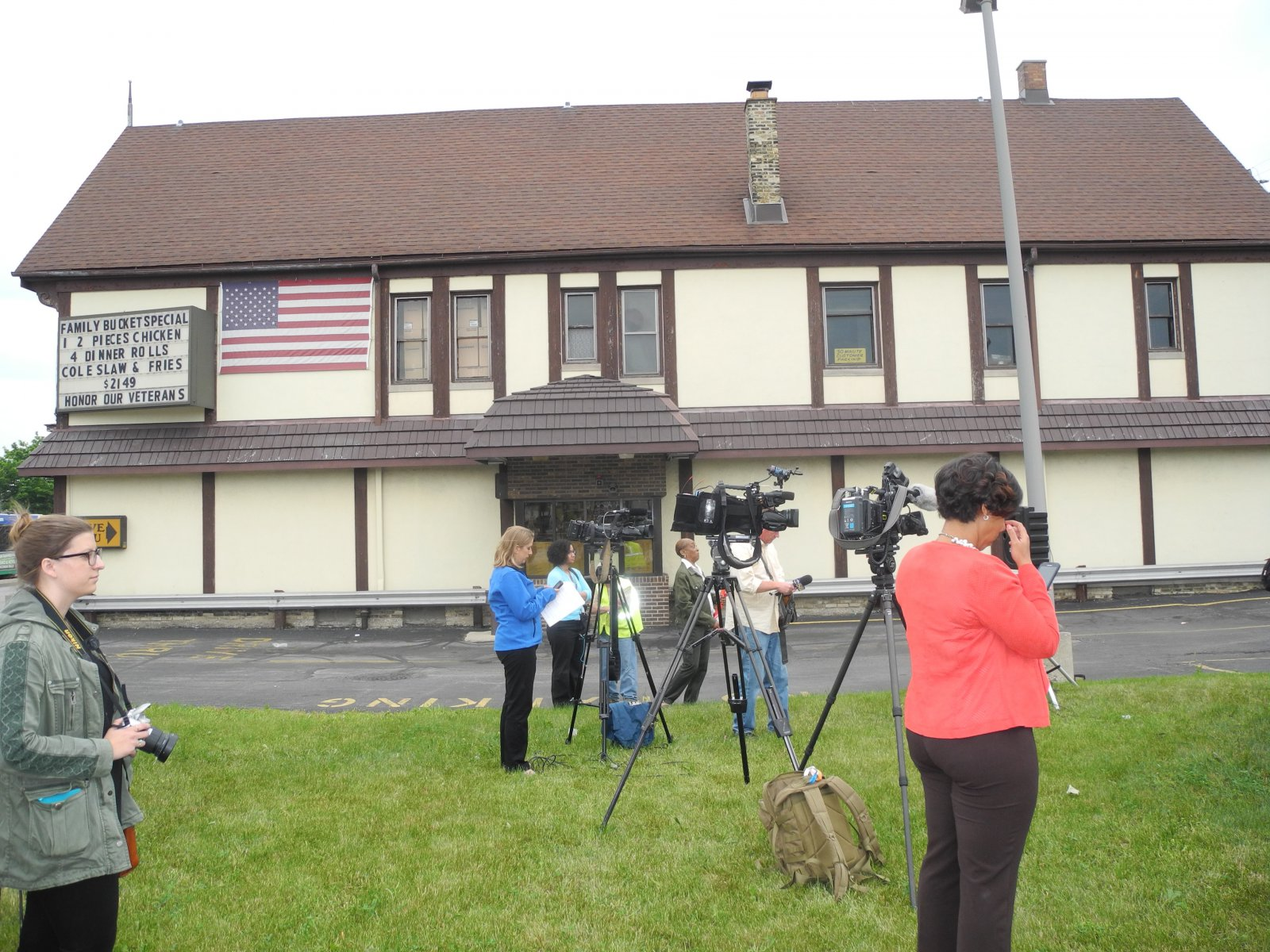 The press conference was held in front of Gold Rush Chicken at W. North Avenue and N. 27th St.