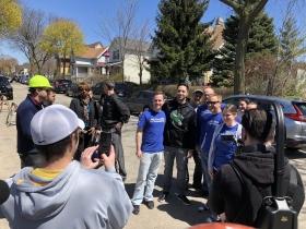 Braun Taking Photos with Volunteers
