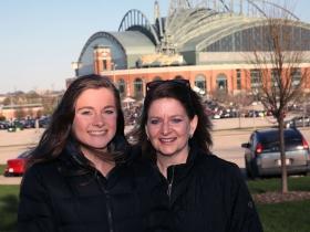 Elise and Brenna Sadler early arrivals at the Miller Park, Billy Joel concert