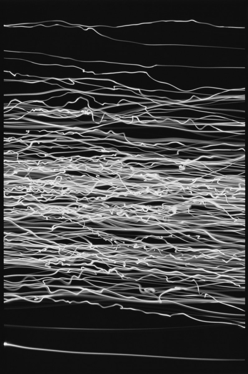 James Nares, Light Drawings, 1990. Black-and-white slide