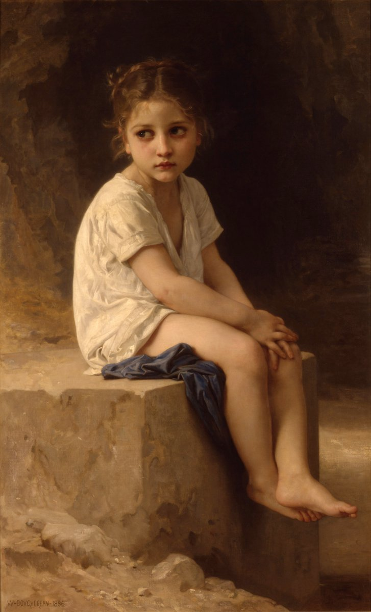 At the Foot of the Cliff by William-Adolphe Bouguereau