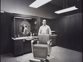 Mark E. Jensen, Linus Mullarkey, Barber (East Side, Milwaukee, WI), ca. 1975