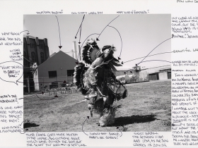 Mesro Coles-El and Nigel Poor. Indian Pow Wow, 2013. Inkjet print and ink.