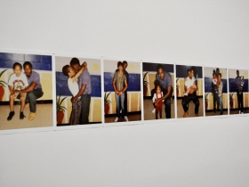Deana Lawson, Mohawk Correctional Facility: Jazmin & Family, 2013 (installation view). Inkjet prints. Columbus Museum of Art, Ohio: Museum Purchase with funds provided by The Contemporaries.