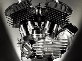 Pohlman Studios, Harley-Davidson Model W Engine, 45-cubic-inch side-valve, 1937. Gelatin silver print