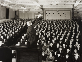 Edward Rohlke Farber, Foreman's Safety School - 9th Street Auditorium, Milwaukee Library, ca. 1940. Gelatin silver print
