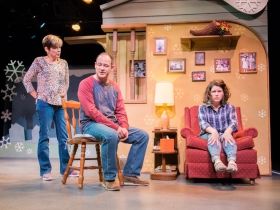 L-R: Mary MacDonald Kerr as Denise McShane, Tom Klubertanz as Terry McShane, Sara Zientek as Abby McShane