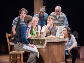 Back row L-R: Andrew Crowe, Chiké Johnson, Jonathan Gillard Daly; front row L-R: Deborah Staples, Josh Krause as Pip, Karen Estrada; foreground: Zach Thomas Woods
