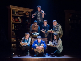 Top: Andrew Crowe; back row L-R: Chiké Johnson, Zach Thomas Woods, Jonathan Gillard Daly; front row L-R: Deborah Staples, Josh Krause as Pip, Karen Estrada