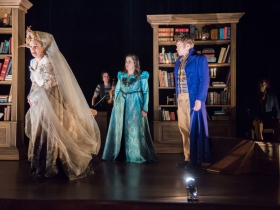 Deborah Staples as Miss Havisham, Karen Estrada as Estella, Josh Krause as Pip