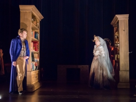 Josh Krause as Pip, Deborah Staples as Miss Havisham