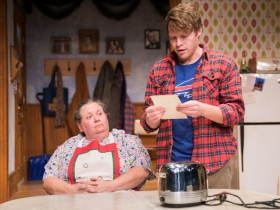 L-R: Raeleen McMillion as Clara Nowak, Josh Krause as Jimmy Nowak.