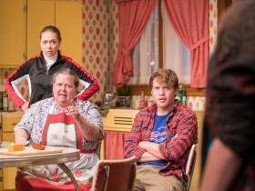 L-R: Greta Wohlrabe as Beverly Nowak, Raeleen McMillion as Clara Nowak, Josh Krause as Jimmy Nowak, Kat Wodtke as Ruth Nowak.