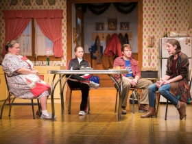 L-R: Raeleen McMillion as Clara Nowak, Greta Wohlrabe as Beverly Nowak, Josh Krause as Jimmy Nowak, Kat Wodtke as Ruth Nowak.